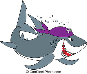 Shark Pirate - Shark wearing a pirate headscarf with crossed...