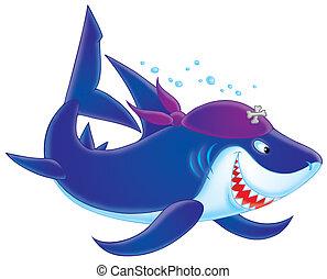 Shark Pirate - Sinister Shark with a pirate bandana swimming...