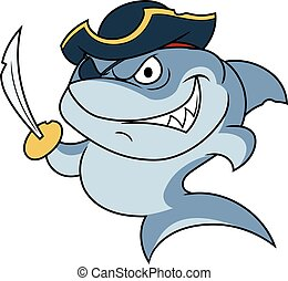 Shark pirate with sabre 2 - Illustration of the dangerous...