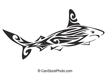 shark polynesian tattoo, vector