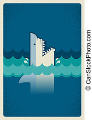 Shark poster. Vector background illustration for text
