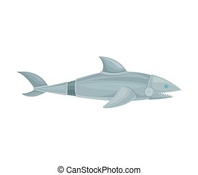 Shark robot with teeth. Side view. Vector illustration on a white background.