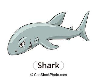 Shark sea animal fish cartoon illustration - Shark sea...