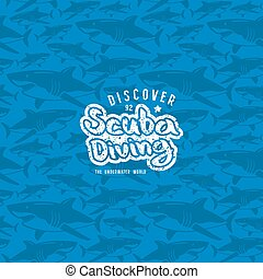Shark seamless pattern and scuba diving emblem