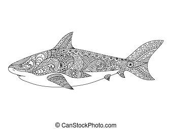 shark - Shark line art design for coloring book for adult,...