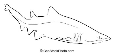 Shark Simplified Contour Silhouette