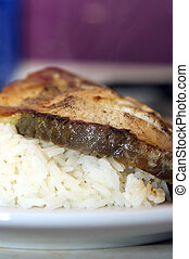 shark steak with rice on a plate