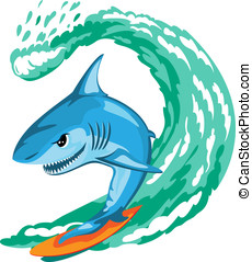 Shark surfer - Cartoon shark surfer on big wave, isolated