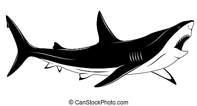 Shark, tattoo - Predatory shark with an open mouth in the...