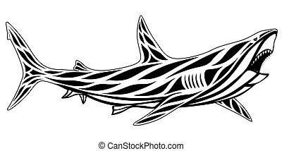 Shark, tattoo - Predatory shark with an open mouth in the ...