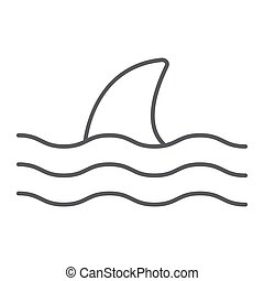 Shark thn line icon, animal and underwater, aquatic sign ...