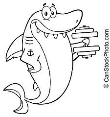 Shark Training With Dumbbell - Black And White Smiling Shark...