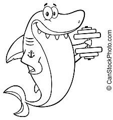 Shark Training With Dumbbell - Black And White Smiling Shark...