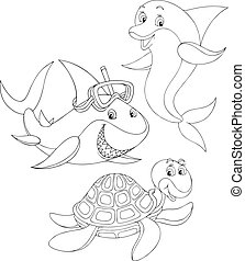 Shark, turtle and dolphin - Great white shark, sea turtle...