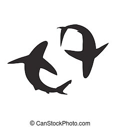 Shark vector silhouettes icon.