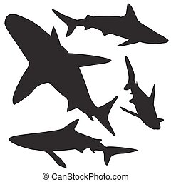 Shark vector silhouettes set.