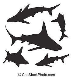 Shark vector silhouettes set.