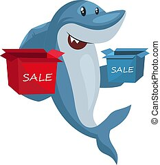 Shark with sale boxes, illustration, vector on white background.