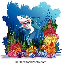 shark with sea life background
