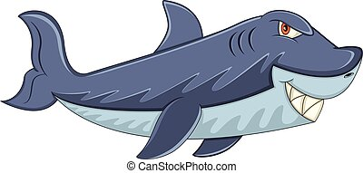 Shark with sharp teeth cartoon - full color
