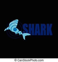 shark with target blue vector illustration