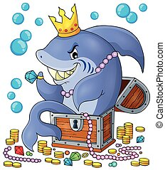 Shark with treasure theme image 1