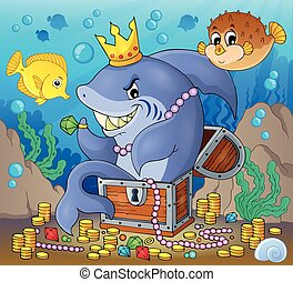 Shark with treasure theme image 2