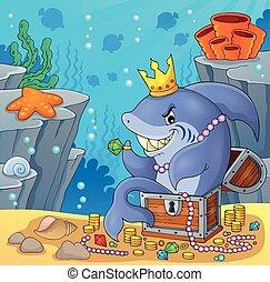 Shark with treasure theme image 4