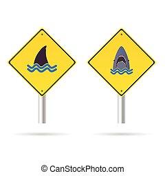 shark yellow sign vector illustration