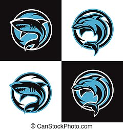 Sharks and dolphins sports logos. - Logos sharks and...