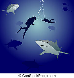 Sharks and scuba divers