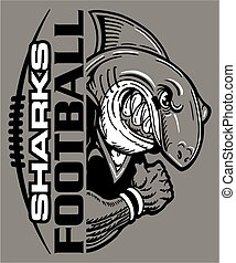 sharks football team design with laces and half mascot for...