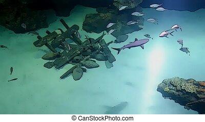 sharks in deep blue sea in cartoon