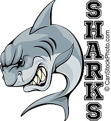 Sharks Mascot - An illustration of a cartoon shark sports...