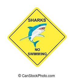 sharks no swimming sign, vector illustration