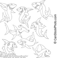 Sharks - Set of sharks swimming and leaping out of water,...