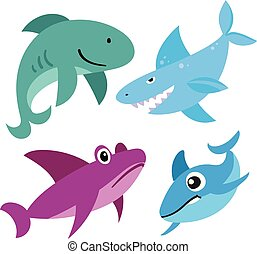 sharks vector collection design