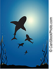Sharks vector - Vector illustration of sharks silhouetted ...
