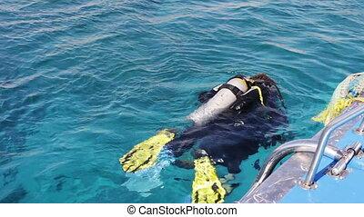 Sharm el-Sheikh, Egypt - December 6, 2016: divers in...