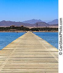 Sharm El Sheikh Egypt - Jetty on the Red Sea coastline at...
