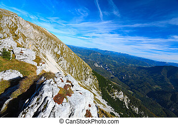 Sharp Alps peaks, rocks without people. View over Alpine rocks
