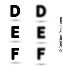sharp and unsharp alphabet letters / font