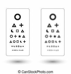 sharp and unsharp snellen chart with symbols for children