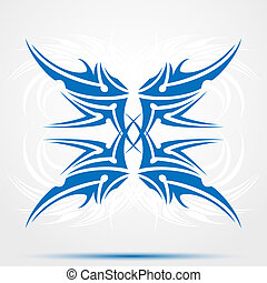 Sharp blue tribal tattoo