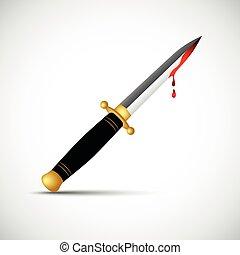 sharp boody dagger knife isolated