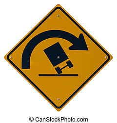 Sharp Curve - Danger of Overturning isolated road sign