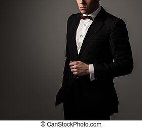 Sharp dressed fashionist wearing jacket and bow tie - Sharp...