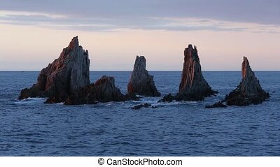 Sharp islets at sunset (Asturias, Spain). - Sunset Atlantic...