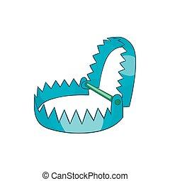 Sharp metal trap icon, cartoon style