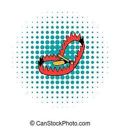 Sharp metal trap icon, comics style